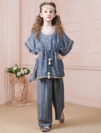 Cotton grey festive wear palazzo suit for girls