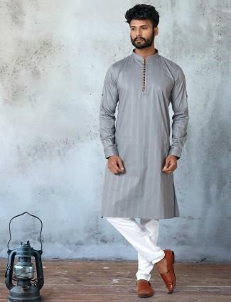 Cotton grey full sleeve stripe kurta suit