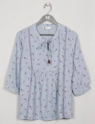 Cotton grey printed casual wear top