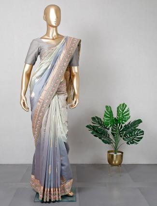 Cotton grey saree for women