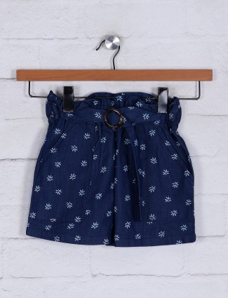 Cotton half pant in navy