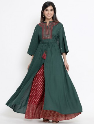 Cotton jade green festive wear punjabi style palazzo suit