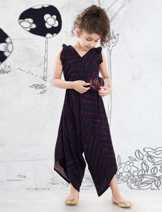 Cotton jump suit in navy for girls