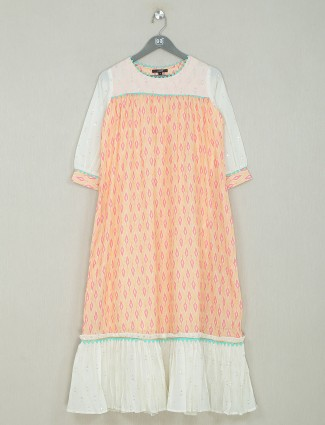 Cotton kurti for women in light orange casual wear