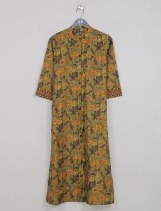 Cotton kurti for women in mehendi green casual wear