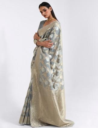 Cotton linen grey festive ceremonies saree