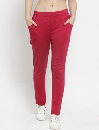 Cotton magenta casual skinny fit jeggings