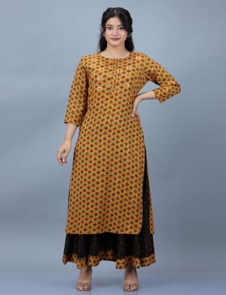 Cotton mustard festive wear printed punjabi style palazzo suit