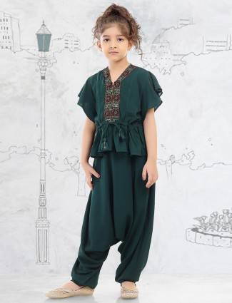 Green cotton dhoti suit