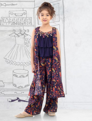 Cotton navy party palazzo suit