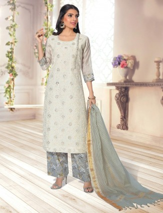 cotton off white palazzo suit for festive wear