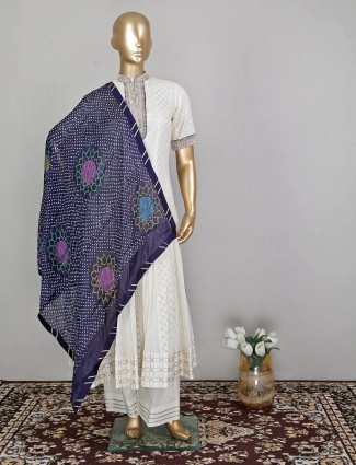 Cotton off-white palazzo suit for women