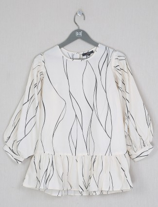 Cotton off-white printed casual wear top