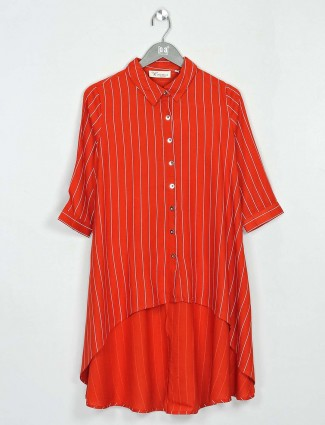 Cotton orange casual wear gorgeous top