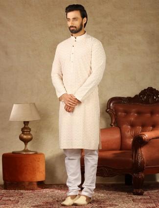 Cotton peach festive wear kurta suit