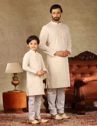 Cotton peach festive wear kurta suit for father and son