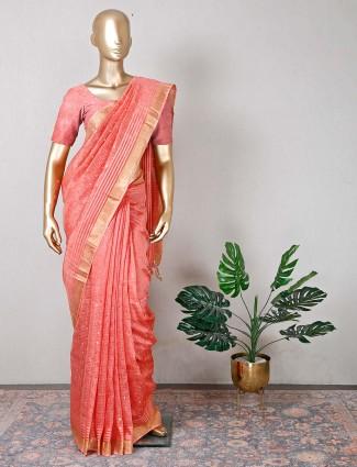 Cotton peach festive wear saree for women
