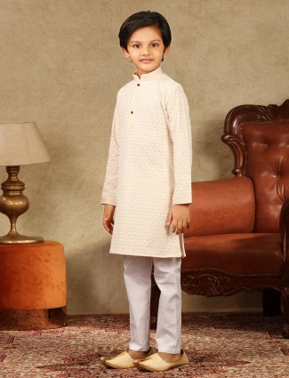 Cotton peach kurta suit in festive wear