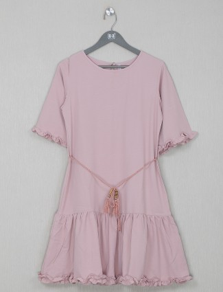 Cotton pink casual wear top for women