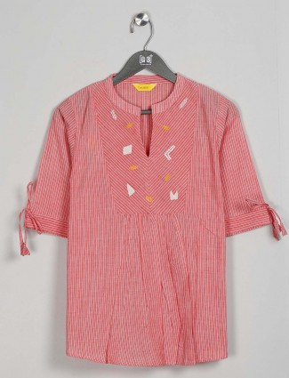 Cotton pink cotton casual wear top