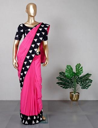 Cotton pink saree for women