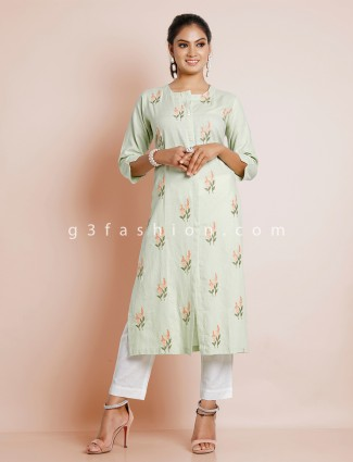 Cotton pista green solid kurti for casual look