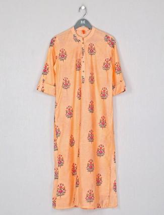 Cotton printed casual wear kurti in peach