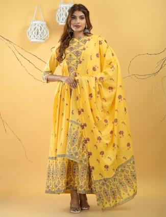 Cotton printed festive ceremonies kurti in sunshine yellow