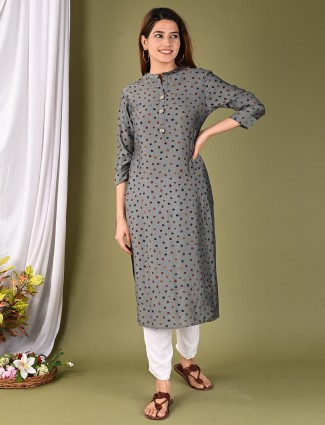 Cotton printed grey casual occasions kurti