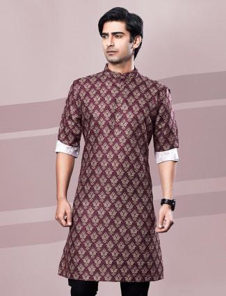 Cotton printed mustard maroon full sleeve kurta