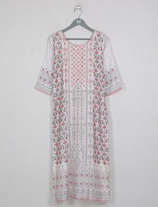 Cotton printed off-white casual wear kurti