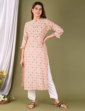 Cotton printed peach kurti for casual wear