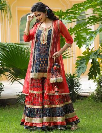 Cotton punjabi jacket style festival events red and navy sharara set