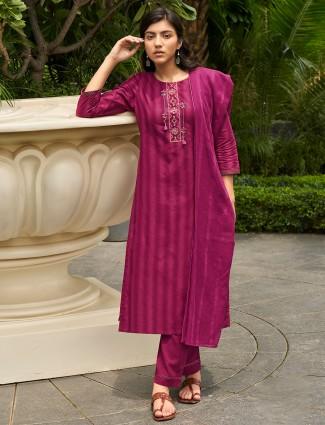 Cotton purple festive ceremonies punjabi style stripe pant suit