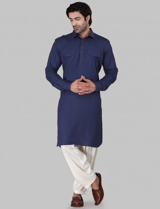 Cotton rayon solid dark blue pathani suit