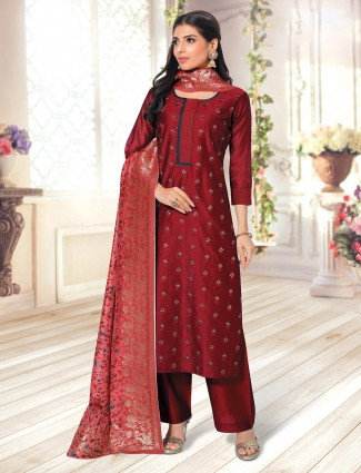 Cotton red festive wear palazzo suit for women