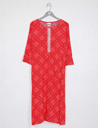 Cotton red kurti for casual look