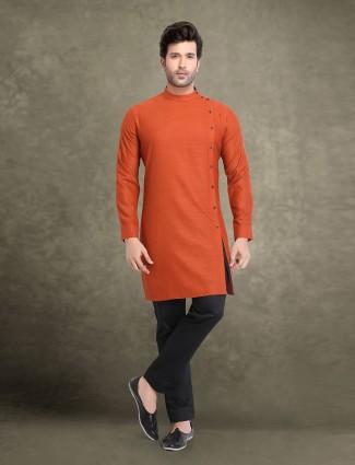Cotton rust orange bandhgala kurta suit