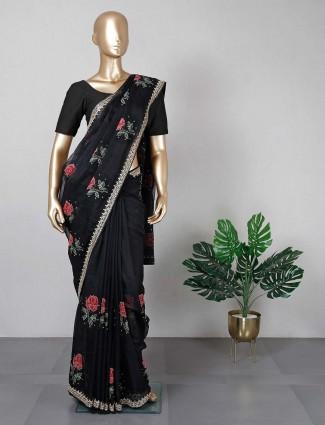 Cotton silk black saree for festive wear