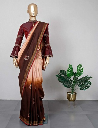 Cotton silk brown and peach saree for festive with ready made blouse