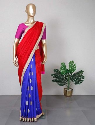 Cotton silk darkblue and red for women