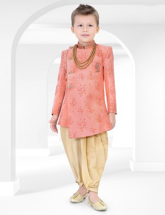 Cotton silk fabric printed pink indo western