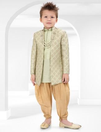 Cotton silk green designer indo western for wedding