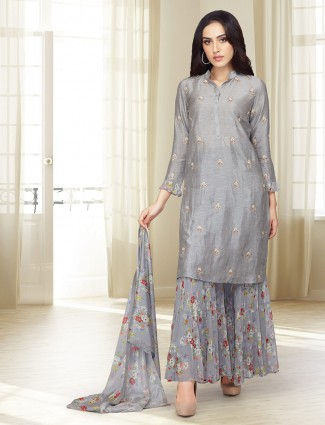 Cotton silk grey hued punjabi palazzo suit