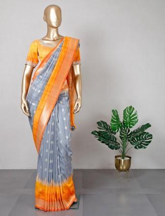 Cotton silk grey saree with ready made blouse