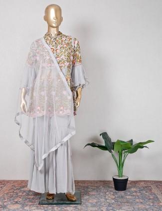 Cotton silk grey sharara suit for wedding