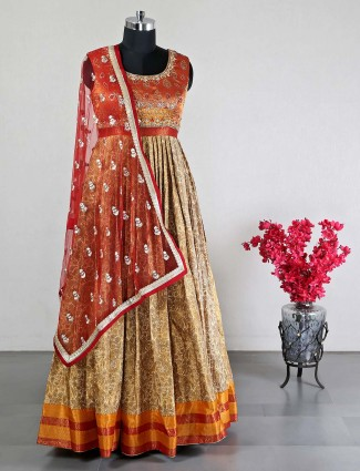Cotton silk orange anarkali suit for wedding