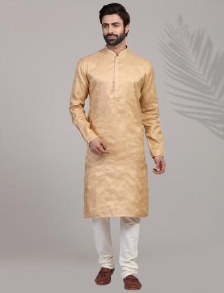 Cotton silk peach festive kurta suit