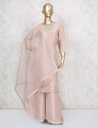 Cotton silk peach party wear punjabi palazzo suit