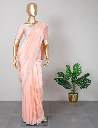 Cotton silk peach saree for festive
